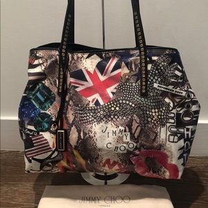 JIMMY CHOO LIMITED EDITION GRAFFITI TOTE W/DUSTBAG